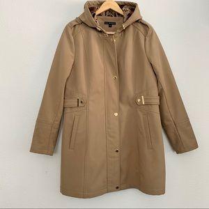 VIA SPIGA Hooded Weatherproof Trench Coat, Size XL